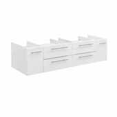 Lucera 60'' White Wall Hung Single Vessel Sink Modern Bathroom Vanity Base Cabinet Only, 59-1/5''W x 20''D x 15''H