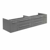 Lucera 72'' Gray Wall Hung Double Undermount Sink Modern Bathroom Vanity Base Cabinet Only, 71-1/5''W x 20''D x 15''H