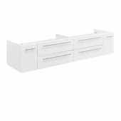 Lucera 72'' White Wall Hung Double Undermount Sink Modern Bathroom Vanity Base Cabinet Only, 71-1/5''W x 20''D x 15''H