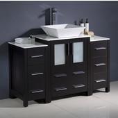 Torino 48'' Wide Espresso Modern Bathroom Cabinets w/ Top & Vessel Sink
