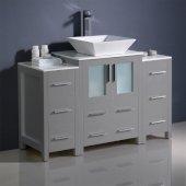 Torino 48'' Gray Modern Bathroom Vanity Cabinets w/ Top & Vessel Sink, 48'' W x 18-1/8'' D x 35-5/8'' H