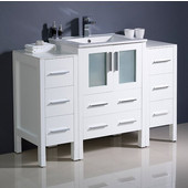 Torino 48'' Wide White Modern Bathroom Cabinets w/ Integrated Sink
