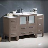 Torino 54'' Wide Gray Oak Modern Bathroom Cabinets w/ Integrated Sink