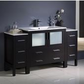 Torino 60'' Wide Espresso Modern Bathroom Cabinets w/ Integrated Sink
