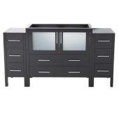 Torino 60'' Espresso Modern Vanity Base Cabinets, 59-1/2'' W x 17-3/4'' D x 33-3/4'' H