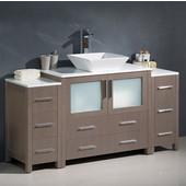 Torino 60'' Wide Gray Oak Modern Bathroom Cabinets w/ Top & Vessel Sink