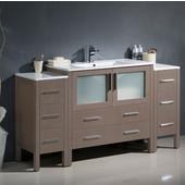 Torino 60'' Wide Gray Oak Modern Bathroom Cabinets w/ Integrated Sink