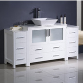 Torino 60'' Wide White Modern Bathroom Cabinets w/ Top & Vessel Sink