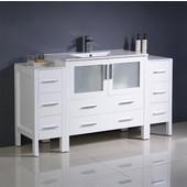 Torino 60'' Wide White Modern Bathroom Cabinets w/ Integrated Sink