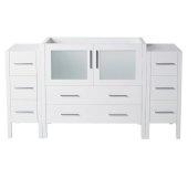 Torino 60'' White Modern Vanity Base Cabinets, 59-1/2'' W x 17-3/4'' D x 33-3/4'' H