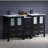 Torino 60'' Wide Espresso Modern Double Sink Bathroom Cabinets w/ Integrated Sinks