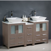 Torino 60'' Wide Gray Oak Modern Double Sink Bathroom Cabinets w/ Tops & Vessel Sinks
