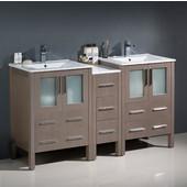 Torino 60'' Wide Gray Oak Modern Double Sink Bathroom Cabinets w/ Integrated Sinks