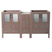 Torino 60'' Gray Oak Modern Vanity Base Cabinets, 59-1/2'' W x 17-3/4'' D x 33-3/4'' H