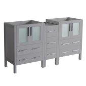 Torino 60'' Gray Modern Bathroom Vanity Cabinets, 59-1/2'' W x 17-3/4'' D x 33-3/4'' H