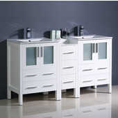 Torino 60'' Wide White Modern Double Sink Bathroom Cabinets w/ Integrated Sinks