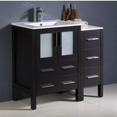 Torino 36'' Wide Espresso Modern Bathroom Cabinets w/ Integrated Sink