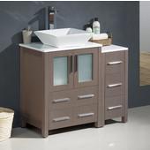 Torino 36'' Wide Gray Oak Modern Bathroom Cabinets w/ Top & Vessel Sink