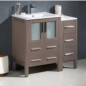 Torino 36'' Wide Gray Oak Modern Bathroom Cabinets w/ Integrated Sinks
