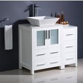 Torino 36'' Wide White Modern Bathroom Cabinets w/ Top & Vessel Sink