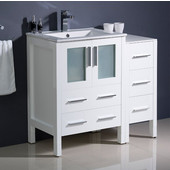Torino 36'' Wide White Modern Bathroom Cabinets w/ Integrated Sink