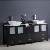 Torino 72'' Wide Espresso Modern Double Sink Bathroom Cabinets w/ Tops & Vessel Sinks