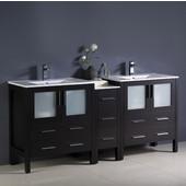 Torino 72'' Wide Espresso Modern Double Sink Bathroom Cabinets w/ Integrated Sinks