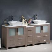 Torino 72'' Wide Gray Oak Modern Double Sink Bathroom Cabinets w/ Tops & Vessel Sinks