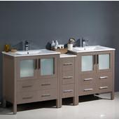 Torino 72'' Wide Gray Oak Modern Double Sink Bathroom Cabinets w/ Integrated Sinks