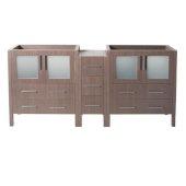 Torino 72'' Gray Oak Modern Vanity Base Cabinets, 71-1/2'' W x 17-3/4'' D x 33-3/4'' H