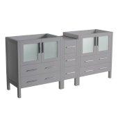 Torino 72'' Gray Modern Bathroom Vanity Cabinets, 71-1/2'' W x 17-3/4'' D x 33-3/4'' H