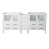 Torino 72'' White Modern Vanity Base Cabinets, 71-1/2'' W x 17-3/4'' D x 33-3/4'' H