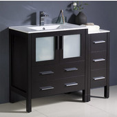 Torino 42'' Wide Espresso Modern Bathroom Cabinets w/ Integrated Sink