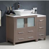 Torino 42'' Wide Gray Oak Modern Bathroom Cabinets w/ Top & Vessel Sink
