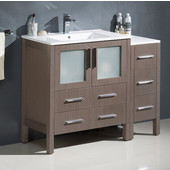 Torino 42'' Wide Gray Oak Modern Bathroom Cabinets w/ Integrated Sink
