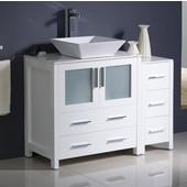 Torino 42'' Wide White Modern Bathroom Cabinets w/ Top & Vessel Sink