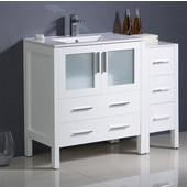Torino 42'' Wide White Modern Bathroom Cabinets w/ Tops & Integrated Sink