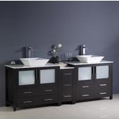 Torino 84'' Wide Espresso Modern Double Sink Bathroom Cabinets w/ Tops & Vessel Sinks