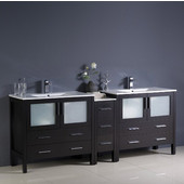 Torino 84'' Wide Espresso Modern Double Sink Bathroom Cabinets w/ Integrated Sinks