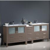 Torino 84'' Wide Gray Oak Modern Double Sink Bathroom Cabinets w/ Integrated Sinks