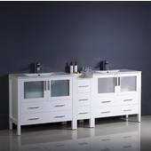 Torino 84'' Wide White Modern Double Sink Bathroom Cabinets w/ Integrated Sinks