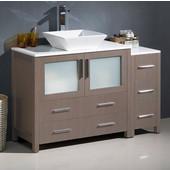 Torino 48'' Wide Gray Oak Modern Bathroom Cabinets w/ Top & Vessel Sink