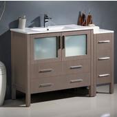 Torino 48'' Wide Gray Oak Modern Bathroom Cabinet w/ Integrated Sink