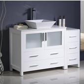 Torino 48'' Wide White Modern Bathroom Cabinets w/ Top & Vessel Sink