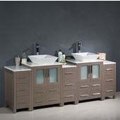 Torino 84'' Wide Gray Oak Modern Double Sink Bathroom Cabinets w/ Tops & Vessel Sinks