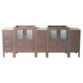 Torino 84'' Gray Oak Modern Vanity Base Cabinets, 83-1/2'' W x 17-3/4'' D x 33-3/4'' H