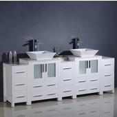 Torino 84'' Wide White Modern Double Sink Bathroom Cabinets w/ Tops & Vessel Sinks
