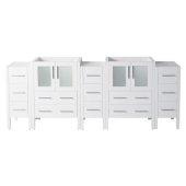 Torino 84'' White Modern Vanity Base Cabinets, 83-1/2'' W x 17-3/4'' D x 33-3/4'' H