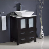 Torino 24'' Wide Espresso Modern Bathroom Cabinet w/ Top &Vessel Sink