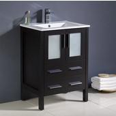 Torino 24'' Wide Espresso Modern Bathroom Cabinet w/ Integrated Sink